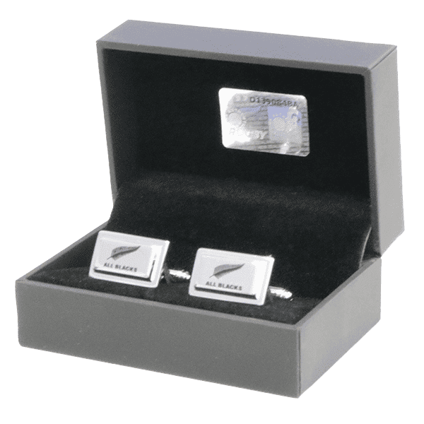 All Blacks Sterling Silver Fern (Black) Cufflinks