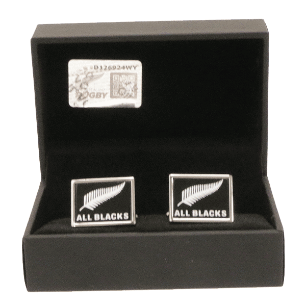 All Blacks Sterling Silver Fern (White) Cufflinks