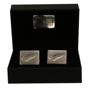 All Blacks Sterling Silver Embossed Fern Cufflinks